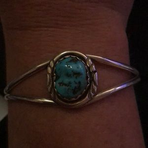 Jewelry - Genuine Turquoise & Sterling Silver Cuff sz 6.5